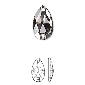 sew-on component, swarovski crystals, black diamond, foil back, 18x10.5mm faceted pear flat back with 2 holes (3230). sold per pkg of 72.