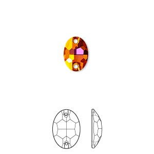 sew-on component, swarovski crystals, crystal astral pink, foil back, 10x7mm flat back faceted oval with 2 holes (3210). sold per pkg of 72.