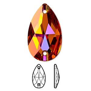 sew-on component, swarovski crystals, crystal astral pink, foil back, 28x17mm flat back faceted pear with 2 holes (3230). sold per pkg of 24.