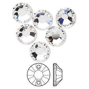 sew-on component, swarovski crystals, crystal clear, 10mm flat foil back xilion (3204). sold per pkg of 6.