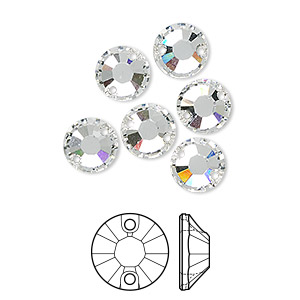 sew-on component, swarovski crystals, crystal clear, 8mm flat foil back xilion (3204). sold per pkg of 6.