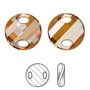 sew-on component, swarovski crystals, crystal copper, 18mm twist (3221). sold per pkg of 2.