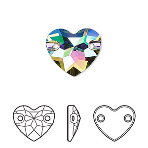sew-on component, swarovski crystals, crystal paradise shine, foil back, 16mm faceted heart with 2 holes (3259). sold per pkg of 30.