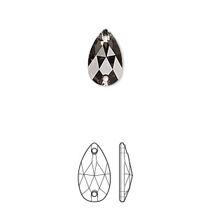 sew-on component, swarovski crystals, crystal passions, black diamond, foil back, 12x7mm faceted pear flat back with 2 holes (3230). sold per pkg of 12.