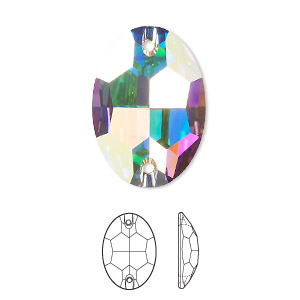 sew-on component, swarovski crystals, crystal passions, crystal ab, foil back, 24x17mm faceted oval flat back with 2 holes (3210). sold per pkg of 24.