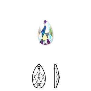 sew-on component, swarovski crystals, crystal passions, crystal ab, foil back, 12x7mm faceted pear flat back with 2 holes (3230). sold per pkg of 2.