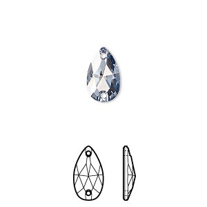 sew-on component, swarovski crystals, crystal passions, crystal blue shade, foil back, 12x7mm faceted pear flat back with 2 holes (3230). sold per pkg of 12.