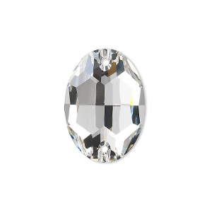 sew-on component, swarovski crystals, crystal passions, crystal clear, foil back, 24x17mm faceted oval flat back with 2 holes (3210). sold per pkg of 12.