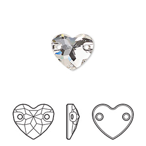 sew-on component, swarovski crystals, crystal passions, crystal clear, foil back, 12mm faceted heart with 2 holes (3259). sold per pkg of 12.