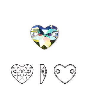 sew-on component, swarovski crystals, crystal passions, crystal paradise shine, foil back, 12mm faceted heart with 2 holes (3259). sold per pkg of 2.