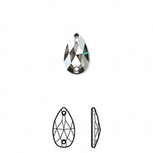 sew-on component, swarovski crystals, crystal passions, crystal satin, aluminum-foil back, 12x7mm faceted pear flat back with 2 holes (3230). sold per pkg of 2.