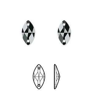 sew-on component, swarovski crystals, crystal passions, jet, foil back, 12x6mm faceted navette flat back with 2 holes (3223). sold per pkg of 48.