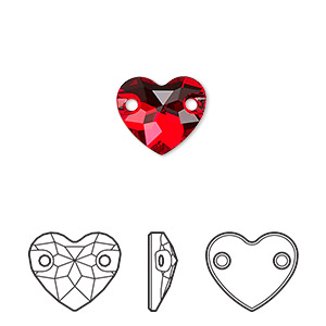 sew-on component, swarovski crystals, crystal passions, light siam, foil back, 12mm faceted heart with 2 holes (3259). sold per pkg of 12.