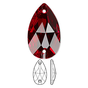 sew-on component, swarovski crystals, crystal passions, light siam, foil back, 28x17mm faceted pear flat back with 2 holes (3230). sold per pkg of 6.