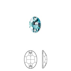 sew-on component, swarovski crystals, crystal passions, light turquoise, foil back, 10x7mm faceted oval flat back with 2 holes (3210). sold per pkg of 2.