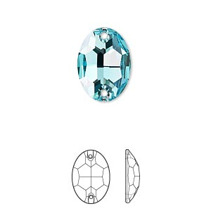 sew-on component, swarovski crystals, crystal passions, light turquoise, foil back, 16x11mm faceted oval flat back with 2 holes (3210). sold per pkg of 12.