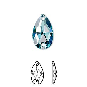 sew-on component, swarovski crystals, crystal passions, light turquoise, foil back, 18x10.5mm faceted pear flat back with 2 holes (3230). sold per pkg of 12.