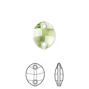 sew-on component, swarovski crystals, crystal passions, peridot, 14x11mm faceted pure leaf with 2 holes (3224). sold per pkg of 2.