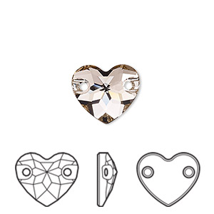 sew-on component, swarovski crystals, crystal passions, vintage rose, foil back, 12mm faceted heart with 2 holes (3259). sold per pkg of 12.