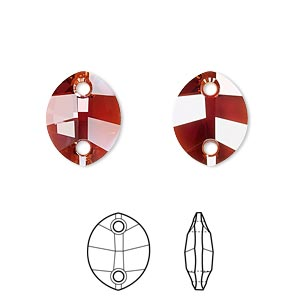 sew-on component, swarovski crystals, crystal red magma, 14x11mm faceted pure leaf with two holes (3224). sold per pkg of 108.