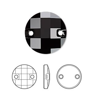 sew-on component, swarovski crystals, jet, 20mm faceted chessboard (3220). sold per pkg of 40.