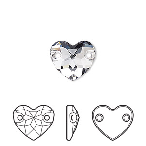 sew-on component, swarovski crystals, smoky mauve, foil back, 12mm faceted heart with 2 holes (3259). sold per pkg of 72.