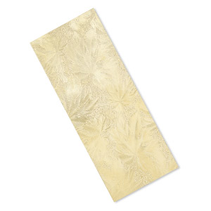 sheet, brass, 6x2-1/2 inch single-sided rectangle with embossed leaf pattern, 24 gauge. sold individually.