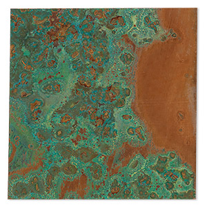 sheet, lillypilly, copper, verde patina, 3-inch single-sided square, 24 gauge. sold individually.