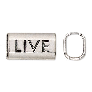 slide, antique silver-finished pewter (zinc-based alloy), 23x13mm single-sided rectangle with live and 11x8mm hole. sold per pkg of 20.