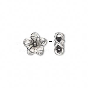slide, antique silver-plated pewter (zinc-based alloy), 11x11mm double-sided flower. sold per pkg of 10.