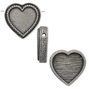 slide, antiqued pewter (tin-based alloy), 25x24mm single-sided heart with 18x19mm heart recessed bezel setting, 2.5mm hole. sold individually.