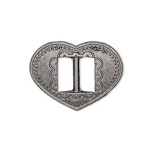 slide, gunmetal-finished pewter (zinc-based alloy), 27x21mm single-sided textured heart, 9.5x4mm hole. sold per pkg of 4.