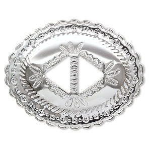 slide, silver-plated steel, 3x2-1/4 inch oval. sold per pkg of 4.