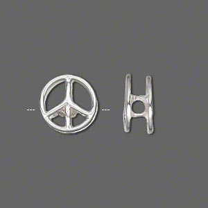 slide, sterling silver, 12mm peace sign with 2.5mm hole. sold individually.