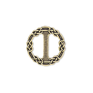 slide, tierracast, antique gold-plated pewter (zinc-based alloy), 20mm double-sided round with celtic chain design. sold individually.