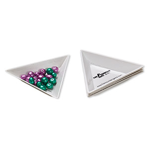 sorting tray, plastic, white and black, 3x3x3-inch triangle. sold per 6-piece set.