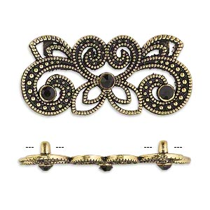 spacer, antique gold-finished pewter (zinc-based alloy) and czech glass rhinestone, black, 35x15mm 2-strand fancy rectangle. sold per pkg of 4.