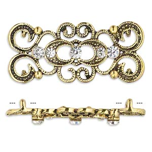 spacer, antique gold-finished pewter (zinc-based alloy) and czech glass rhinestone, clear, 39x16mm 2-strand fancy rectangle. sold per pkg of 4.