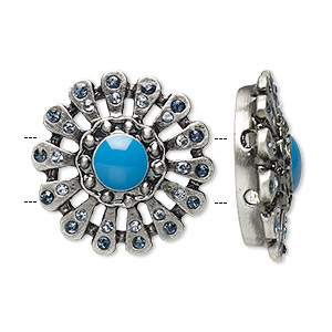 spacer, antique silver-plated pewter (zinc-based alloy)/glass/epoxy, clear and turquoise blue, 21x21mm 2-strand flower with rhinestones, 5mm between holes. sold per pkg of 2.