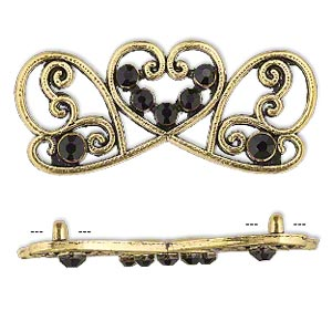 spacer, antiqued gold-finished pewter (zinc-based alloy) and czech glass rhinestone, black, 41x17mm 2-strand fancy rectangle. sold per pkg of 4.