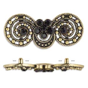 spacer, antiqued gold-finished pewter (zinc-based alloy) and czech glass rhinestone, black, 39x17mm 2-strand fancy double circle. sold per pkg of 4.