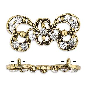 spacer, antiqued gold-finished pewter (zinc-based alloy) and czech glass rhinestone, clear, 37x17mm 2-strand fancy bow. sold per pkg of 4.