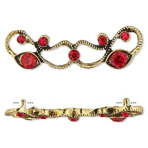 spacer, antiqued gold-finished pewter (zinc-based alloy) and czech glass rhinestone, light siam, 45x13mm 2-strand with fancy design. sold per pkg of 4.