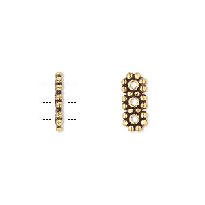 spacer bar, antique gold-finished pewter (zinc-based alloy), 13x6mm 3-strand double-sided rectangle. sold per pkg of 100.