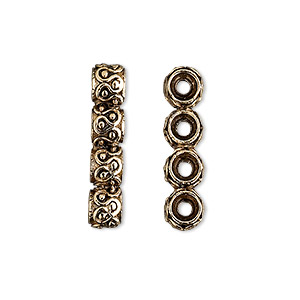 spacer bar, antique gold-plated pewter (tin-based alloy), 24x5mm 4-strand fancy rondelle with wavy design, fits up to 5.5mm bead. sold per pkg of 2.