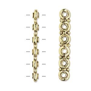 spacer bar, antique gold-plated pewter (tin-based alloy), 35x3mm 6-strand rondelle, fits up to 5mm bead. sold per pkg of 2.