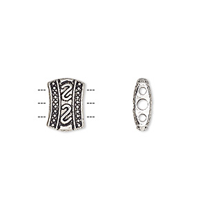 spacer bar, antique silver-plated pewter (zinc-based alloy), 11x8mm 3-strand double-sided fancy barrel with double s design. sold per pkg of 20.