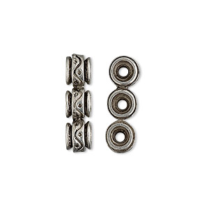 spacer bar, antiqued pewter (tin-based alloy), 20x6mm 3-strand drum, fits up to 6mm bead. sold per pkg of 4.