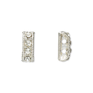 spacer bar, egyptian glass rhinestone and imitation rhodium-plated pewter (tin-based alloy), clear, 12x4mm 2-strand rectangle, fits up to 3.5mm bead. sold per pkg of 12.