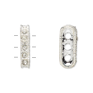 spacer bar, egyptian glass rhinestone and imitation rhodium-plated pewter (tin-based alloy), clear, 18x3mm 3-strand rectangle, fits up to 3.5mm bead. sold per pkg of 12.
